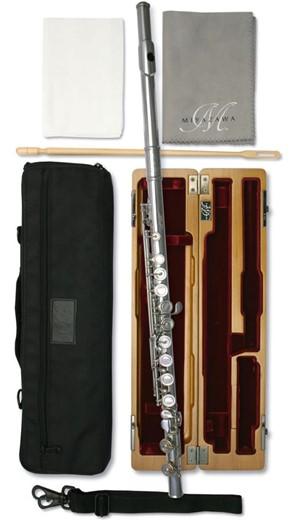 Flüt Miyazawa PB-602E kap. perde, e-mek.,ağızlık & gövde gümüş