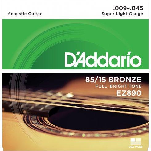 Gitar Tel D'addario Super Light 09 Set Akustik