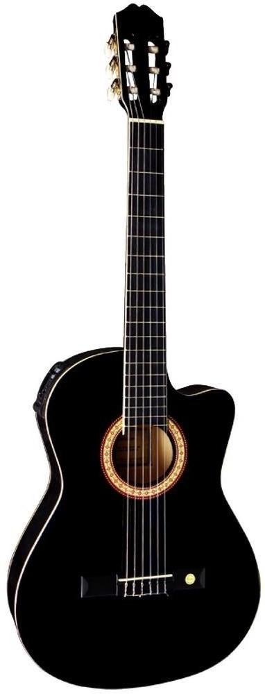 Gitar Tenson Klasik-Elektro, Cutaway siyah F500.096